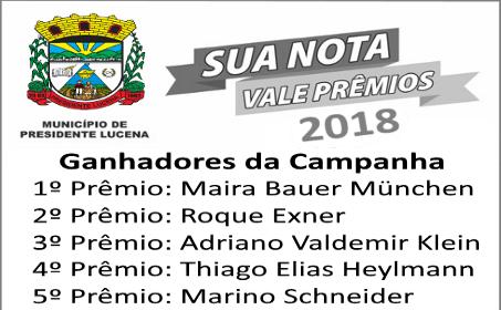 Foto de capa da notícia GANHADORES DA CAMPANHA NOTA FISCAL VALE PRÊMIOS