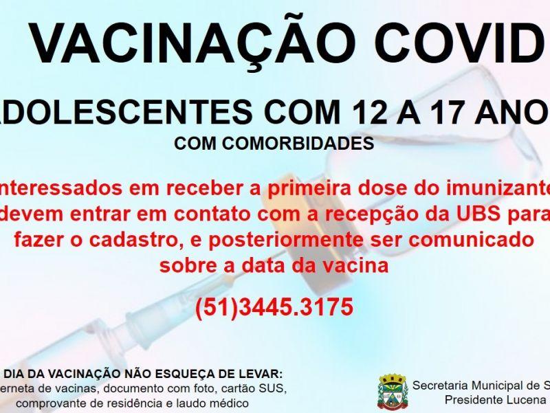Foto de capa da notícia VACINAÇÃO COVID PARA ADOLESCENTES COM COMORBIDADES