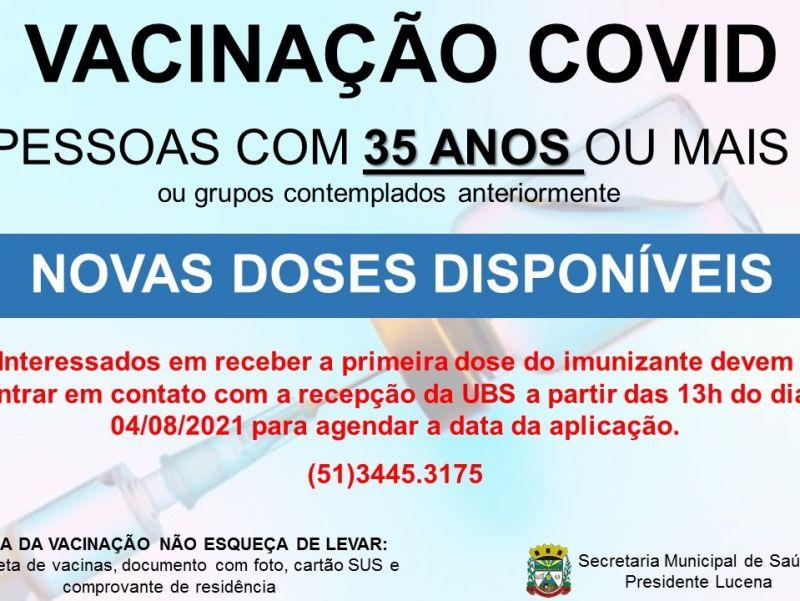 Foto de capa da notícia NOVAS DOSES DA VACINA COVID DISPONÍVEL