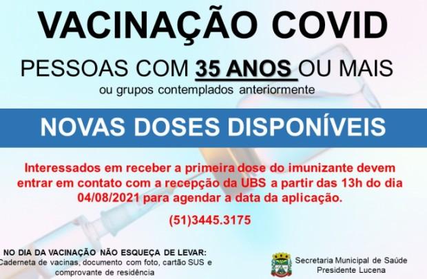 Foto de capa da notícia: NOVAS DOSES DA VACINA COVID DISPONÍVEL