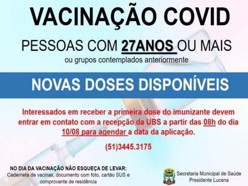Foto de capa da notícia VACINAÇÃO COVID PARA PESSOAS COM 27 ANOS OU MAIS