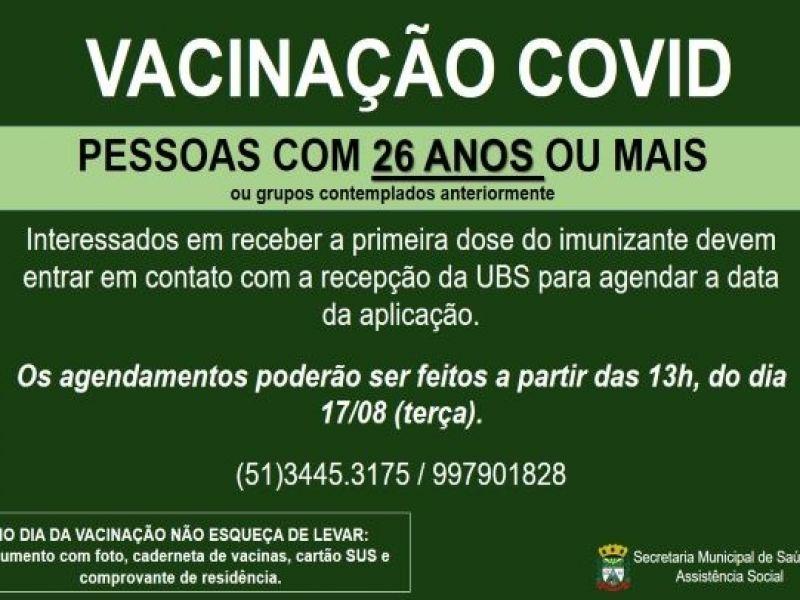 Foto de capa da notícia NOVAS DOSES DA VACINA COVID PARA PESSOAS COM 26 ANOS OU MAIS
