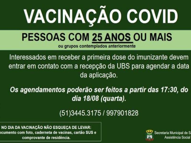 Foto de capa da notícia PESSOAS COM 25 ANOS OU MAIS JA PODEM AGENDAR A DATA DA VACINA CONTRA COVID