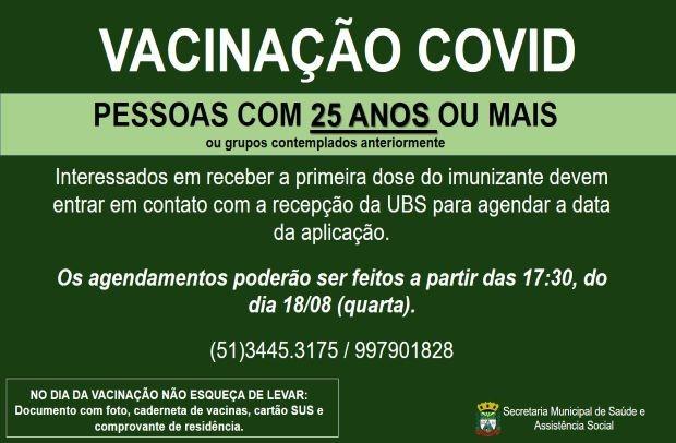 Foto de capa da notícia: PESSOAS COM 25 ANOS OU MAIS JA PODEM AGENDAR A DATA DA VACINA CONTRA COVID