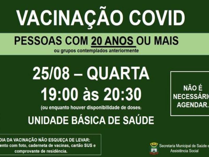 Foto de capa da notícia VACINAÇÃO COVID PARA PESSOAS COM 20 ANOS OU MAIS