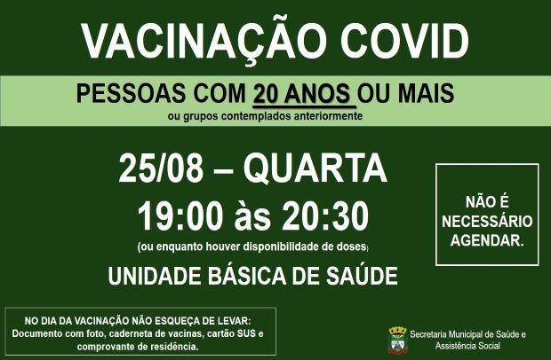 Foto de capa da notícia: VACINAÇÃO COVID PARA PESSOAS COM 20 ANOS OU MAIS