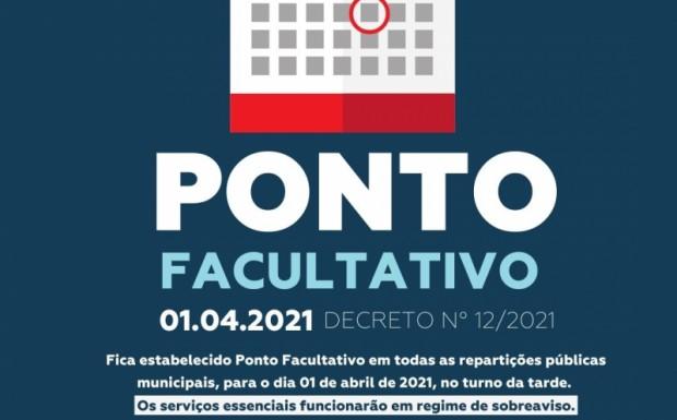 Foto de capa da notícia: Prefeitura realizará ponto facultativo nesta quinta-feira, 01 de abril