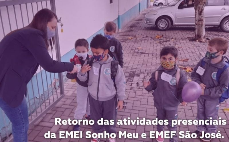 Foto da Notícia Atividades presenciais começam a retornar nas escolas de São José do Hortêncio