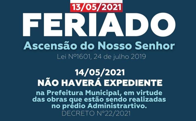 Foto da Notícia FERIADO DE ASCENSÃO DO NOSSO SENHOR NESTA QUINTA-FEIRA, 13 DE ABRIL