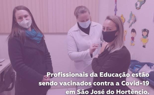 Foto de capa da notícia: Profissionais da Educação estão sendo vacinados contra a Covid-19 em São José do Hortêncio
