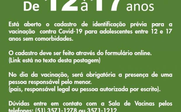 Foto de capa da notícia: SMS abre cadastro para vacinação contra Covid-19 destinado a adolescentes de 12 a 17 anos