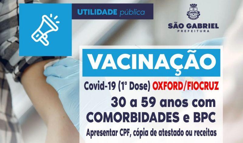 Foto de capa da notícia INICIA VACINAÇÃO PARA PESSOAS DE 30 ANOS COM COMORBIDADES.