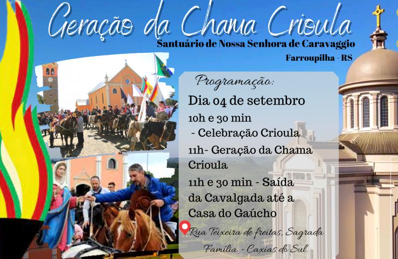 Foto de capa da notícia: Santuário de Nossa Senhora de Caravaggio sediará acendimento da Chama Crioula