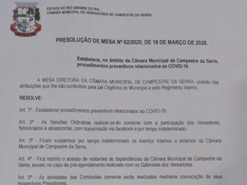 Foto de capa da notícia: Câmara adora medidas de prevenção contra o COVID-19