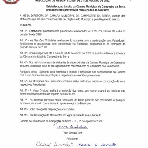 Foto de capa da notícia: Resolução sobre funcionamento da Câmara durante o mês de setembro
