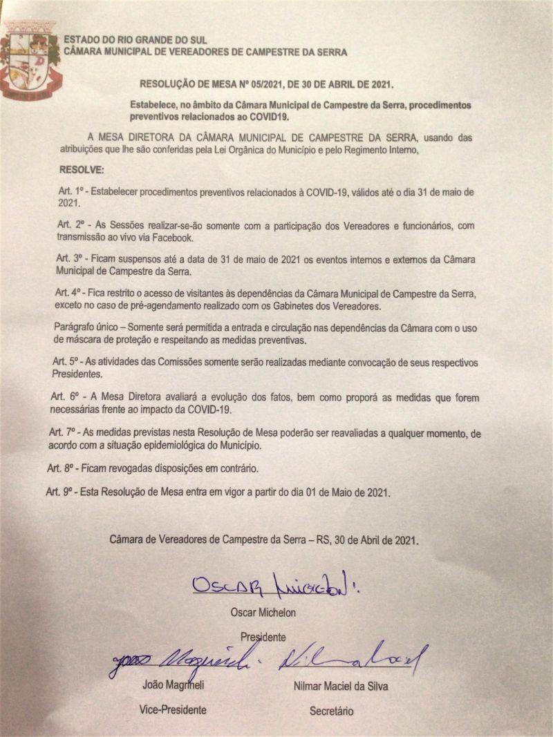 Resolução de Mesa 05/2021