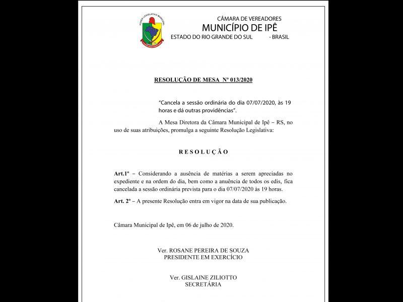 Foto de capa da notícia Sessão que aconteceria amanhã, 07/07/2020 é cancelada, conforme a Resolução da Mesa Diretora Nº 013/2020: