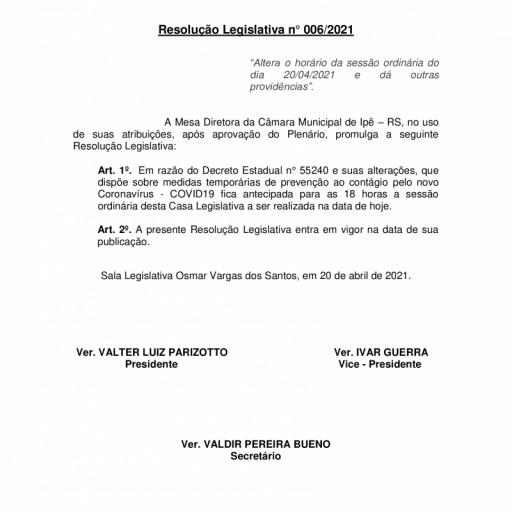 Foto de capa da notícia: Resolução Legislativa nº 006/2021