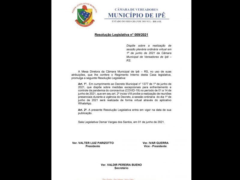Foto de capa da notícia Resolução Legislativa nº 009/2021
