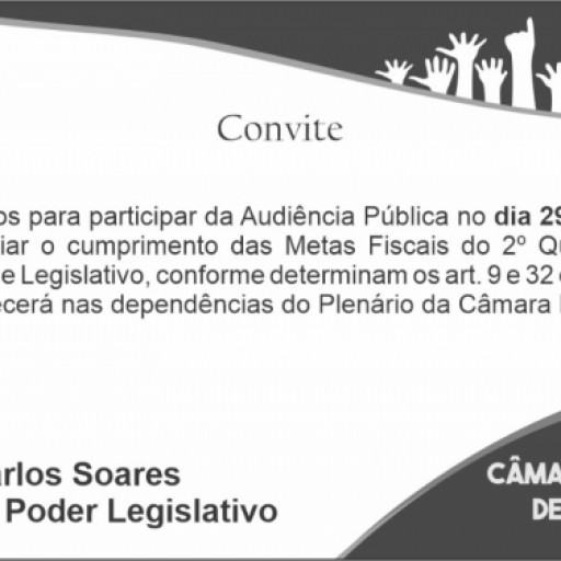 Foto de capa da notícia: Convite para Audiência pública