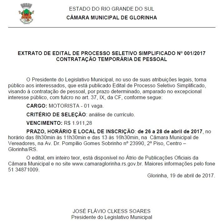 Foto de capa da notícia Processo Seletivo Nº001/2017