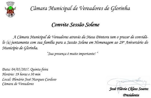 Foto de capa da notícia CONVITE - Sessão Solene em Homenagem ao 29º Aniversário do Município.