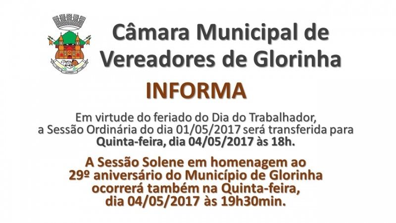 Foto de capa da notícia ALTERAÇÃO DE DATA E HORÁRIO DE SESSÃO ORDINÁRIA