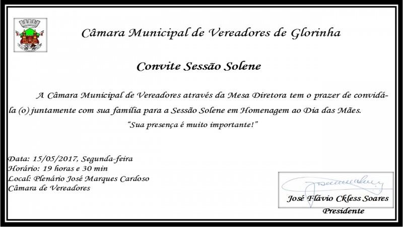 Foto de capa da notícia Convite - Sessão Solene em Homenagem ao Dia das Mães