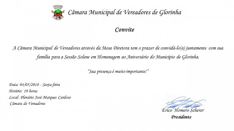 Foto de capa da notícia A Câmara Municipal convida para a Solenidade em Homenagem ao 30º Aniversário do Município de Glorinha.