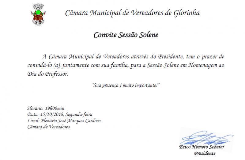 Foto de capa da notícia Convite para Sessão Solene em Homenagem ao Dia do Professor