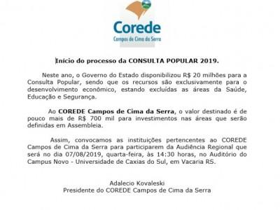 Foto de capa AUDIÊNCIA REGIONAL - INÍCIO DO PROCESSO DA CONSULTA POPULAR 2019.