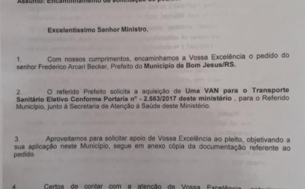 Ofício do prefeito datado de 5 de outubro e recebido pelo gabinete do deputado Otávio Germano reivindicando o veículo