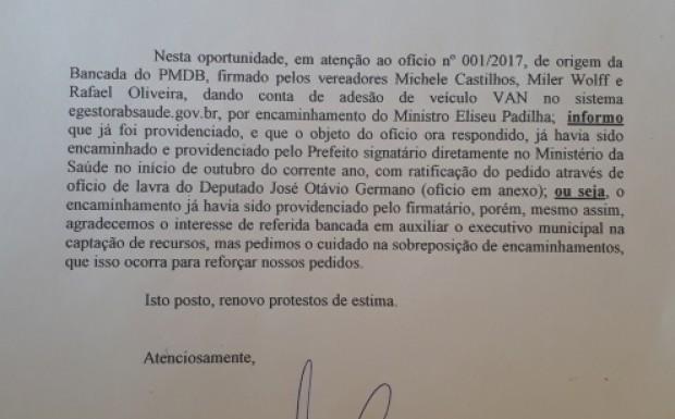 Ofício do prefeito à bancada municipal do PMDB