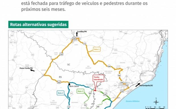 Mapa que indica roteiros alternativos foi isntalado em pontos comerciais da região