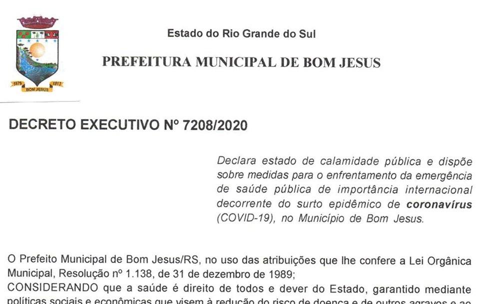 Foto de capa da notícia Bom Jesus declara estado de calamidade pública