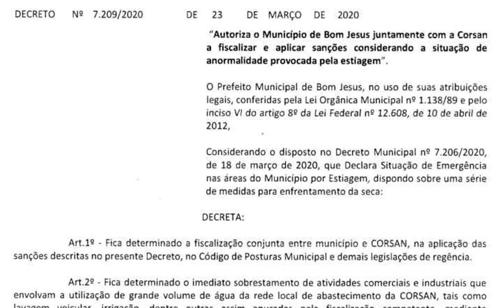 Foto de capa da notícia: Decreto Municipal restringe o uso de água tratada