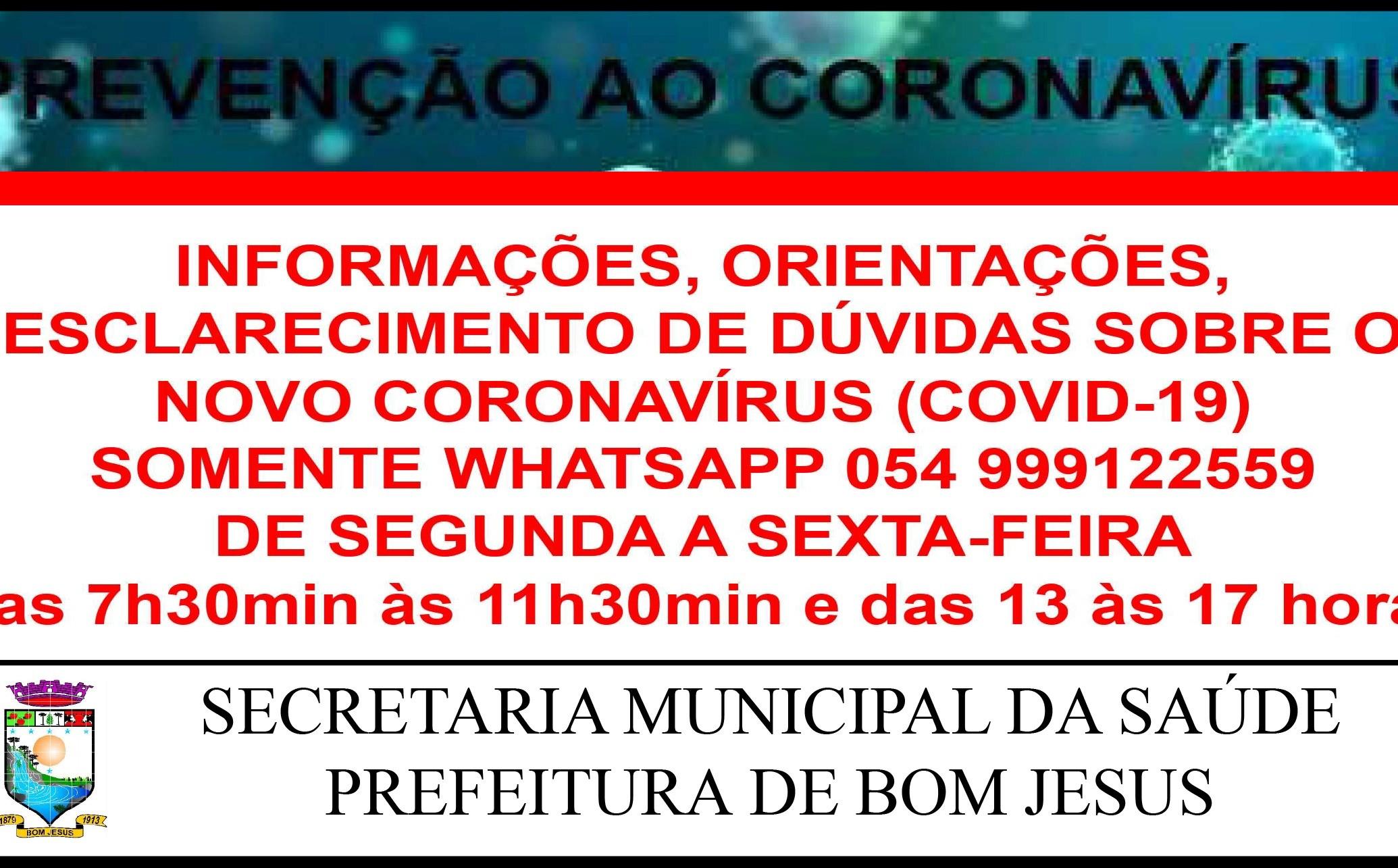 Foto de capa da notícia CORONAVÍRUS - Informações por Whatsapp