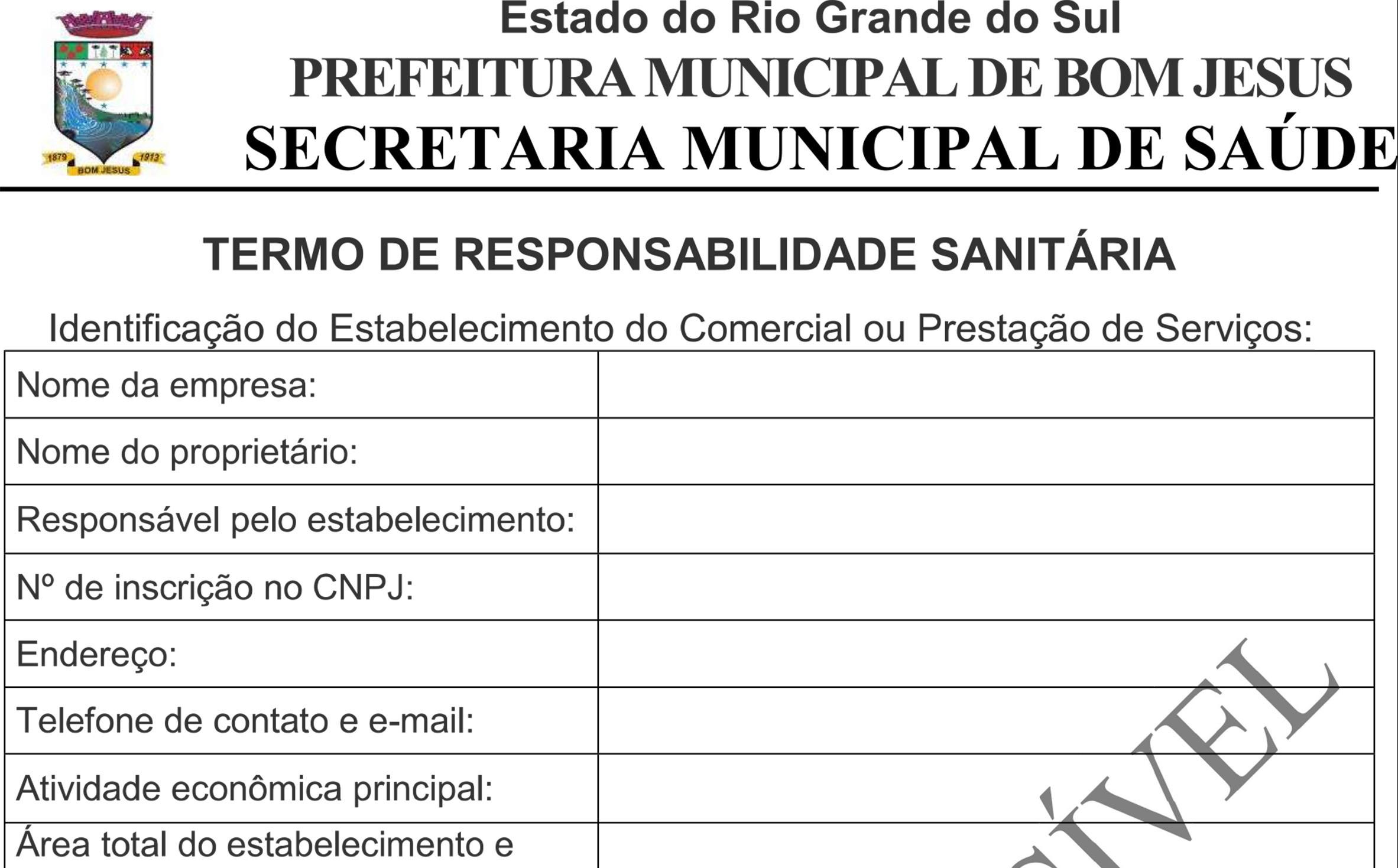Foto de capa da notícia TERMO DE RESPONSABILIDADE SANITÁRIA