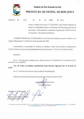 Foto de capa da notícia: Decreto prorroga ações de enfrentamento à covid-19