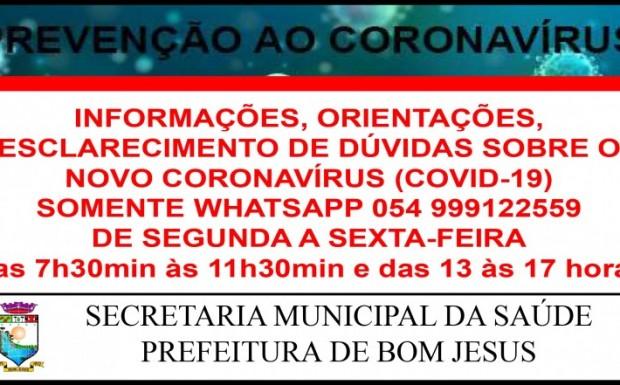 Foto de capa da notícia: CORONAVÍRUS - Informações por WhatsApp