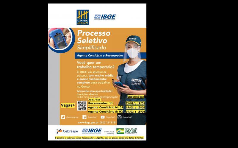 Foto de capa da notícia Censo IBGE 2021 - Vagas Bom Jesus (RS)