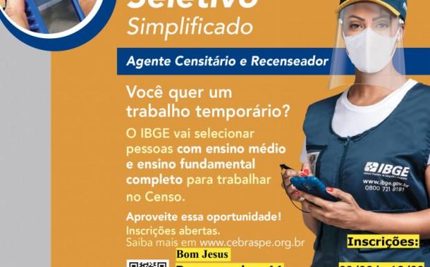 Foto de capa da notícia: Censo IBGE 2021 - Vagas Bom Jesus (RS)