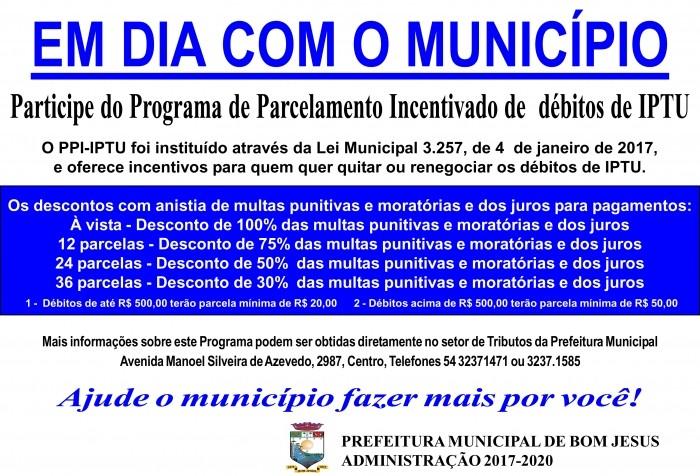 Foto de capa da notícia Parcelamento Incentivado para dídiva de IPTU