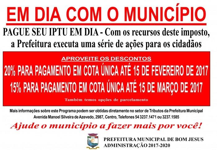 Foto de capa da notícia IPTU 2017 COM DESCONTO