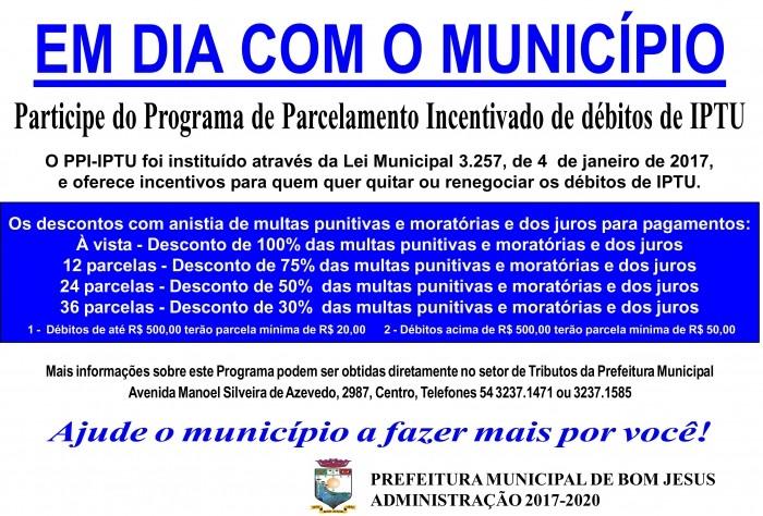 Foto de capa da notícia Prefeitura oferece benefícios para cidadãos quitarem débitos de IPTU