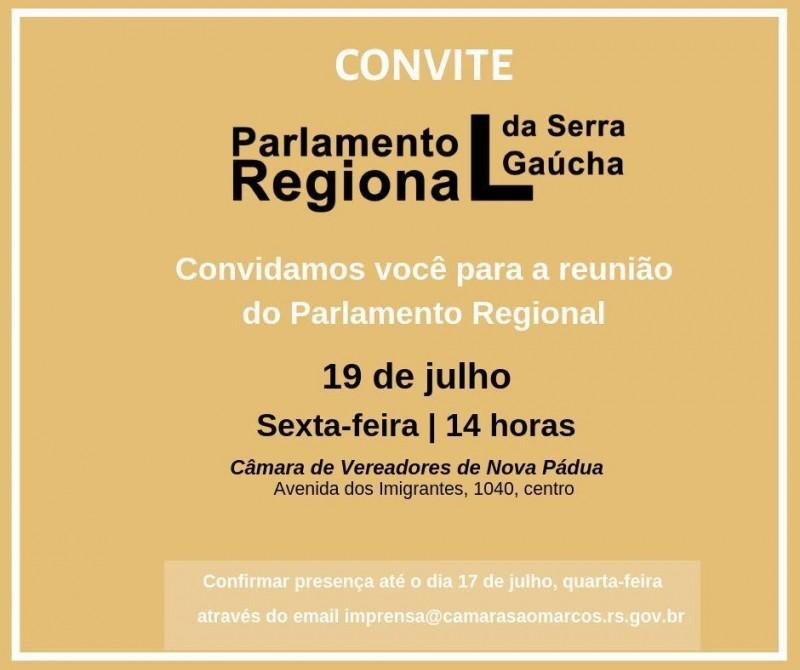 Foto de capa da notícia Encontro do Parlamento Regional acontecerá amanhã na Câmara Municipal de Nova Pádua.