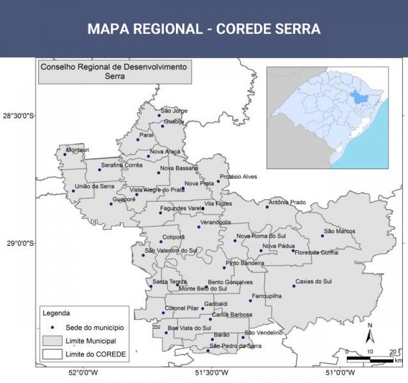 Mapa dos Municípios Corede Serra