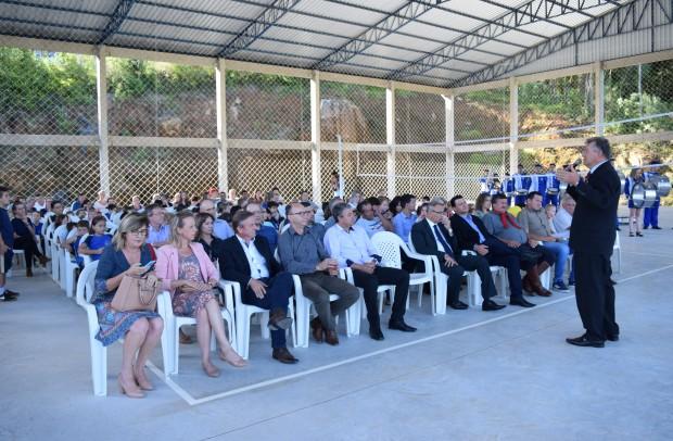 Secretário Municipal de Educação, Cultura e Desporto, Ricardo Lawrenz, deixou sua mensagem na ocasião - Crédito das fotos: Jordana Kiekow | Comunicação PMNP