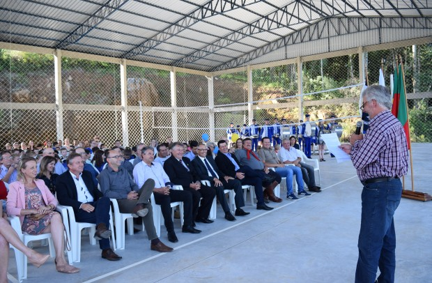 Líder comunitário, Paulo Antônio Heylmann, deixou sua mensagem na ocasião - Crédito das fotos: Jordana Kiekow | Comunicação PMNP