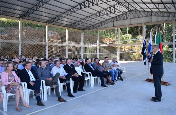 Prefeito de Nova Petrópolis, Regis Luiz Hahn, deixou sua mensagem na ocasião - Crédito das fotos: Jordana Kiekow | Comunicação PMNP